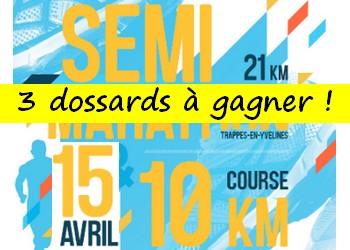 3 dossards 10 km et semi-marathon de Trappes 2018 (Yvelines)