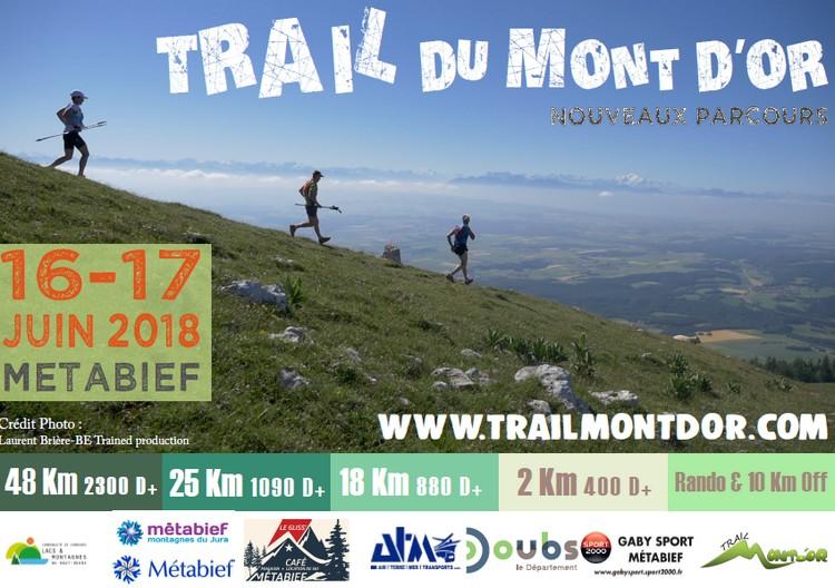 2 dossards Trail du Mont d'Or 2018 (Doubs)