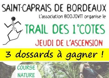 3 dossards Trail des premières côtes 2018 (Gironde)