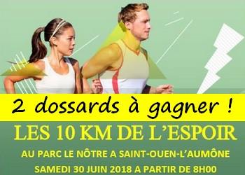 Photo de 2 dossards 10 km de l'Espoir 2018 (Val d'Oise)