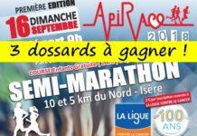 3 dossards Api Race 2018, semi, 10 km & 5km, L'Isle-d'Abeau (Isère)