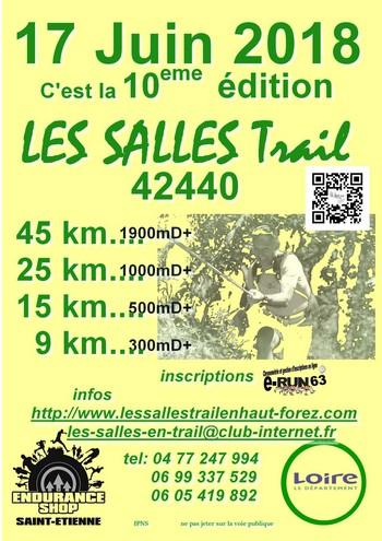 3 dossards Les Salles Trail en Haut-Forez 2018 (Loire)
