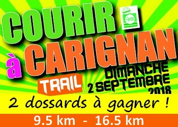 2 dossards Courir à Carignan 2018 (Gironde)