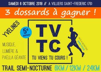 3 dossards Trail TVTC, Tu Viens Tu Cours 2018 (Yvelines)