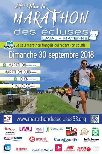 2 dossards Marathon des écluses de la Mayenne 2018 (Laval)