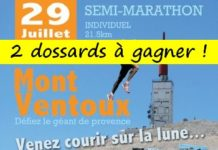 2 dossards Semi-marathon du Ventoux 2018 (Vaucluse)