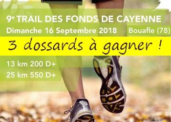 Photo of 3 dossards Trail des Fonds de Cayenne 2018 (Yvelines)