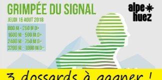 3 dossards Grimpée du signal 2018, course verticale, Huez (Isère)