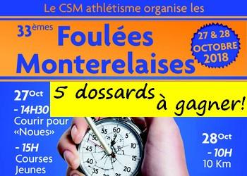 5 dossards Foulées Monterelaises 2018 (Seine et Marne)