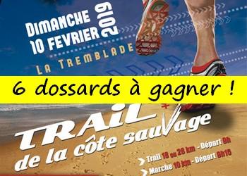 6 dossards Trail de la côte sauvage 2019 (Charente Maritime)