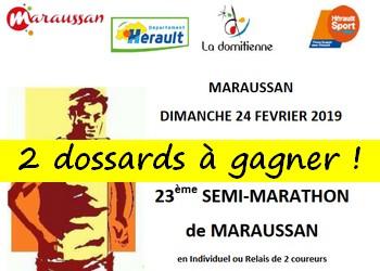 2 dossards Semi-marathon de Maraussan 2019 (Hérault)