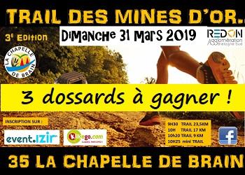 3 dossards Trail des mines d'or 2019 (Ille et Vilaine)