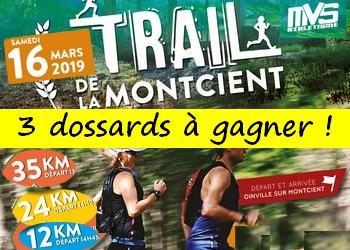 3 dossards Trail de la Montcient 2019 (Yvelines)