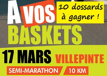 10 dossards A vos baskets, 10 km et semi-marathon de Villepinte 2019 (Seine Saint Denis)
