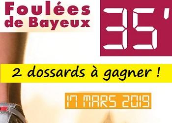 2 dossards Foulées de Bayeux 2019 (Calvados)