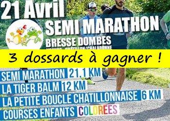 3 dossards Semi-marathon Bresse Dombes 2019 (Ain)