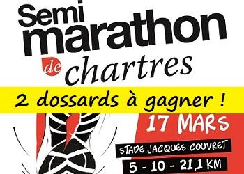 2 dossards Semi Marathon de Chartres 2019 (Eure et Loir)