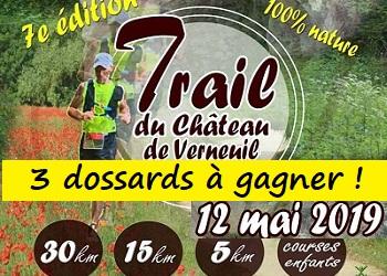 Photo de 3 dossards Trail du Château de Verneuil 2019 (Oise)