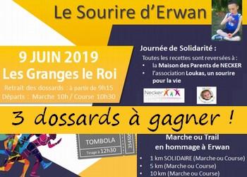 Photo of 3 dossards 5 & 10 km Sourire d Erwan 2019 (Essonne)