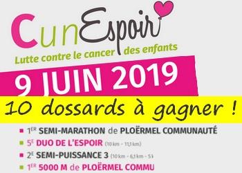 10 dossards Semi-marathon de Ploërmel Communauté 2019 (Morbihan)