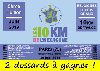 2 dossards 10 km de l'Hexagone 2019 (Paris)