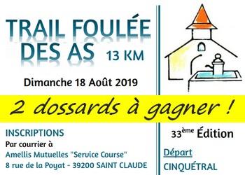 2 dossards Foulée des As 2019 (Jura)