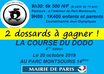 2 dossards Course du dodo 2019 (Paris)
