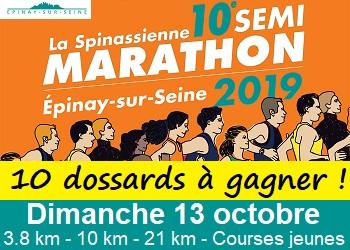 10 dossards Spinassienne, semi-marathon d Épinay-sur-Seine 2019 (Seine Saint Denis)