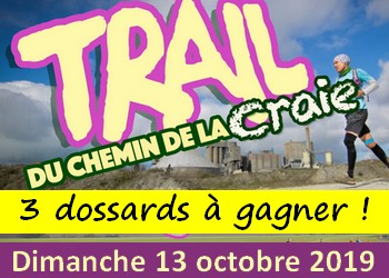 3 dossards Trail du Chemin de la Craie 2019 (Pas de Calais)