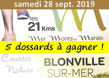 5 dossards 21 km Mer, Monts et Marais 2019 (Calvados)