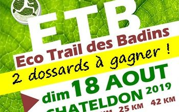 Photo of 2 dossards Eco trail des badins 2019 (Puy de Dôme)