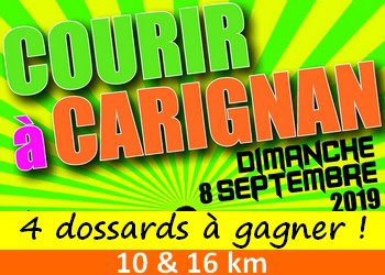 4 dossards Courir à Carignan 2019 (Gironde)