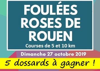 5 dossards Foulées Roses de Rouen 2019 (Seine Maritime)