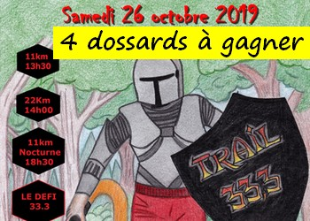 4 dossards Trail 33.3 2019 (Seine et Marne)