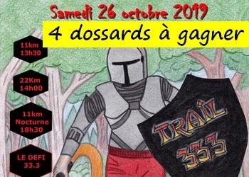 4 dossards Trail 33.3 2019 (Seine et Marne)