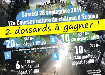 2 dossards Courses Nature du Château d Ecouen 2019 (Val d'Oise)