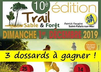 3 dossards Trail sable et forêt Patrick Fougère 2019 (Charente Maritime)