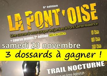 3 dossards Trail la Pontoise 2019 (Oise)