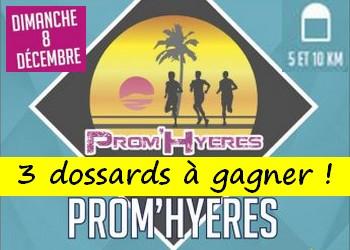 3 dossards Prom'Hyeres, Hyères Running Days 2019 (Var)