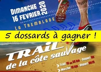 5 dossards Trail de la côte sauvage 2020 (Charente Maritime)