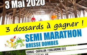 Photo de 3 dossards Semi-marathon Bresse Dombes 2020 (Ain)
