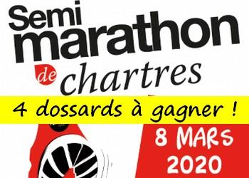4 dossards Semi Marathon de Chartres 2020 (Eure et Loir)