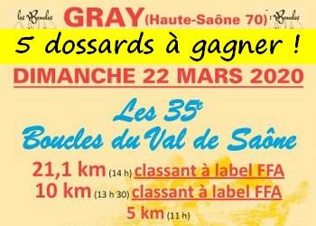 5 dossards Boucles du Val de Saône 2020 (Haute Saône)