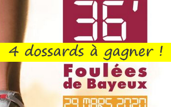 Photo de 4 dossards Foulées de Bayeux 2020 (Calvados)