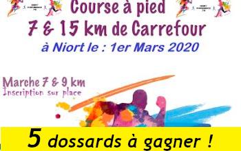 Photo of 5 dossards 7 et 15 km de Carrefour 2020 (Deux Sèvres)