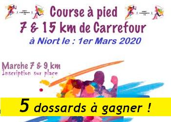 5 dossards 7 et 15 km de Carrefour 2020 (Deux Sèvres)