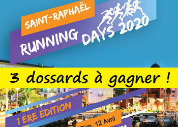 3 dossards Saint-Raphaël Running Days 2020 (Var)