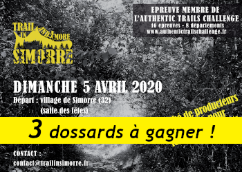 3 dossards Trail and More in Simorre 2020 (Gers)