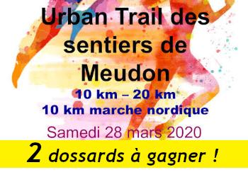 2 dossards Urban Trail des Sentiers de Meudon 2020 (Hauts de Seine)